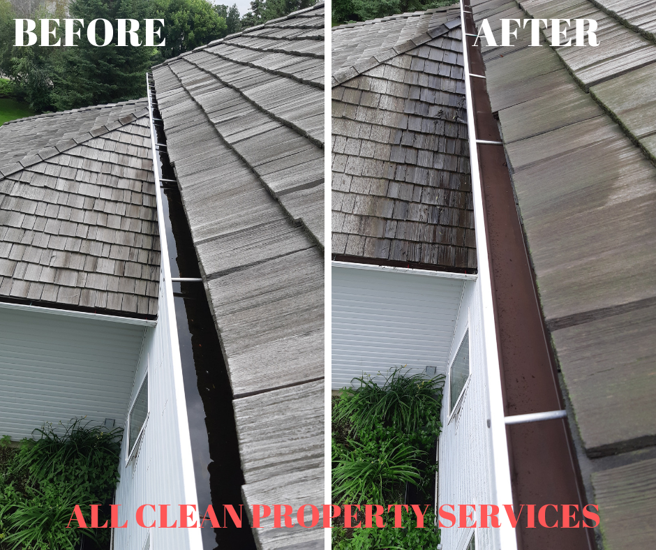 Before and After Photos of a Gutter